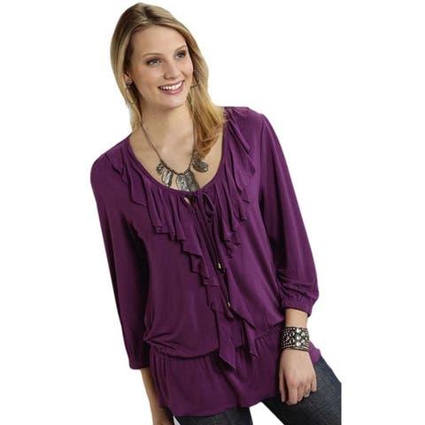 Roper Western Shirt Womens Ladies L/S Purple - S