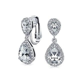 Bling Jewelry CZ Double Teardrop Clip On Bridal Earrings Rhodium Plated Brass