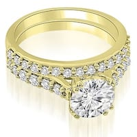1.05 cttw. 14K Yellow Gold Cathedral Round Cut Diamond Bridal Set