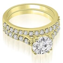 1.30 cttw. 14K Yellow Gold Cathedral Round Cut Diamond Bridal Set