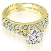1.30 cttw. 14K Yellow Gold Cathedral Round Cut Diamond Bridal Set