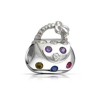 Bling Jewelry Multicolored CZ Clutch Handbag Charm Bead .925 Sterling Silver
