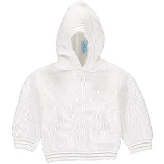 Julius Berger Baby Unisex White Stitch Detail Hooded Zip Back Sweater
