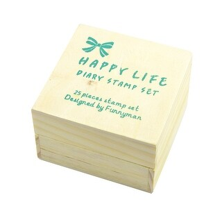 Unique Bargains 25 Pcs Rubber Wood Happy Life Diary Stamp Set Stationery DIY Peach Pink Beige w Case