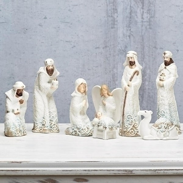 "8 piece Lace Trim Decorative Nativity Set with Angel and Camel 8.25"" - GOLD"