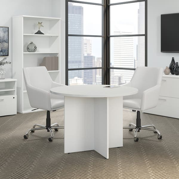 42w Round Conference Table With Wood Base By Bush Business Furniture Overstock 21623059 White