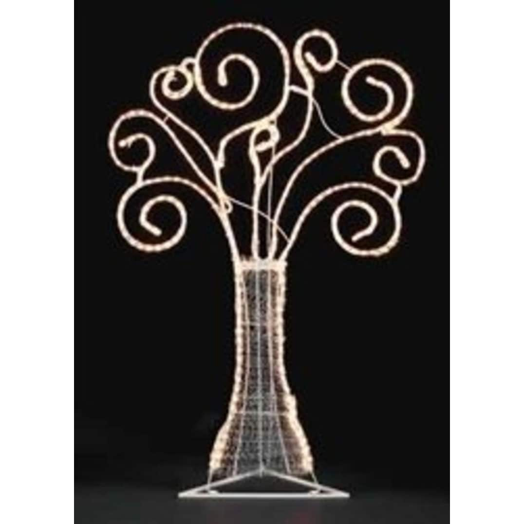 "48"" Pre-Lit White Swirl Rope Light Christmas Tree Outdoor Decoration thumbnail"