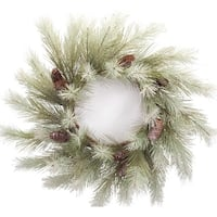 Pack of 4 Green and Brown Snowy Pine Wreath with Pine Cones 26""
