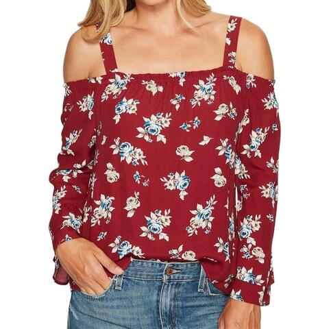 Sanctuary Red Womens Size XS Cold-Shoulder Floral-Print Blouse