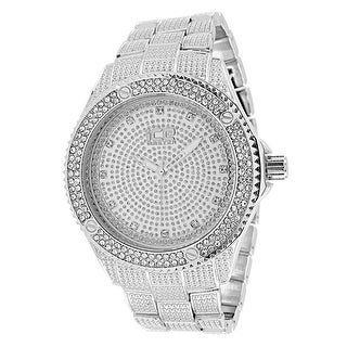 Silver Tone Mens Watch Iced Out Lab Diamonds Analog Quartz Ice Bling 48mm