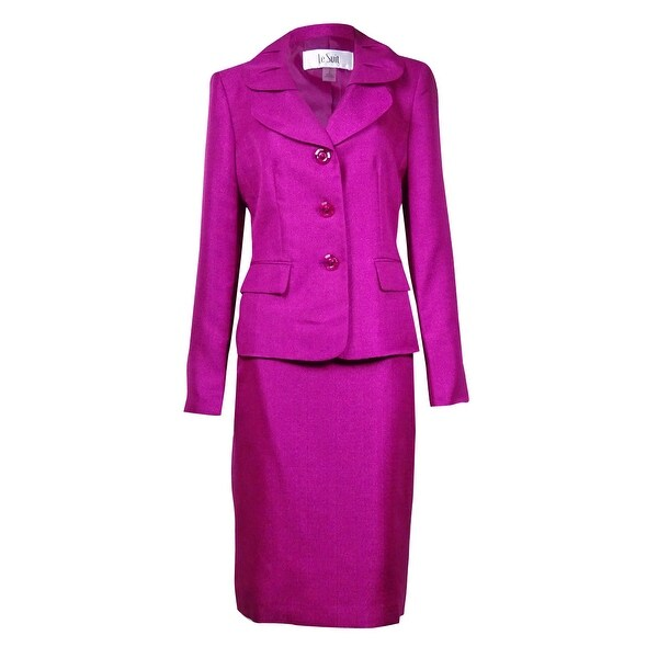 Le Suit Women's Quebec Pleated Pocket Sheen Skirt Suit - Magenta