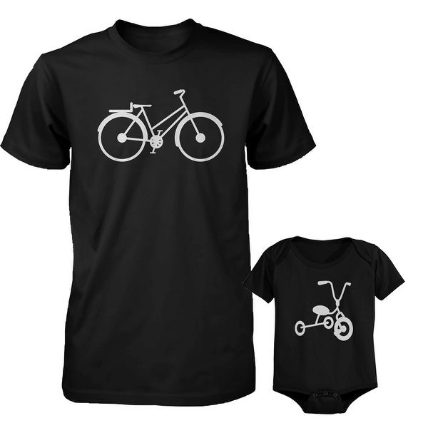 Bicycle Daddy Shirt And Tricycle Baby Bodysuit Matching Outfit Father's Day Gift