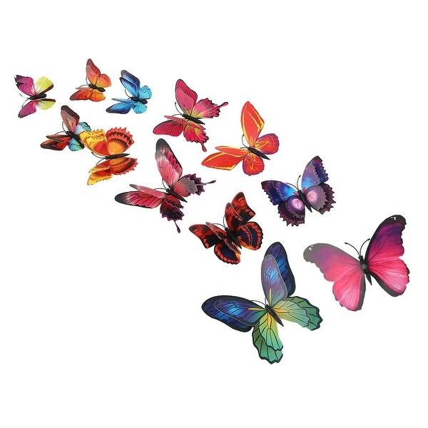 12pcs 3D Butterfly Wall Sticker Decal Sticker for Bedroom Decoration Brown Blue - Brown, Blue