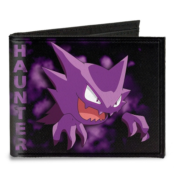 Haunter Pose Clouds Black Purples Canvas Bi Fold Wallet One Size - One Size Fits most