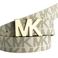 Michael Kors Belt with MK Logo Plaque -Vanilla 55376C
