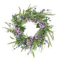 """24"""" Decorative Purple and Green Daisy and Mixed Berry Artificial Floral Wreath - Unlit - Thumbnail 0"""