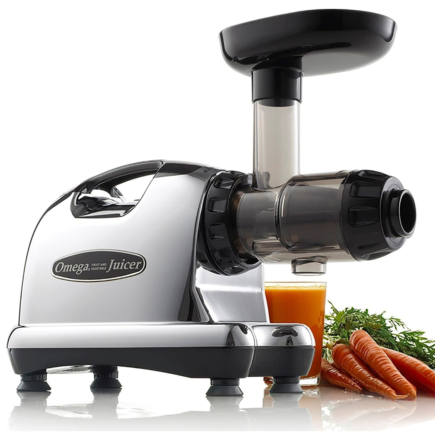 Omega Juicers J8006 Nutrition Center Quiet Dual Stage Slow Speed HD Masticating Juicer, Silver & Black