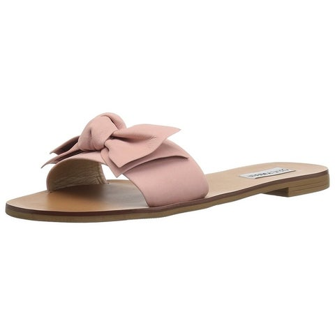 Steve Madden Womens Knotss Leather Open Toe Casual Slide Sandals