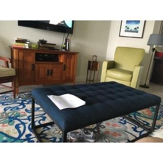 Carbon Loft Renate Navy Linen Coffee Table Ottoman Free