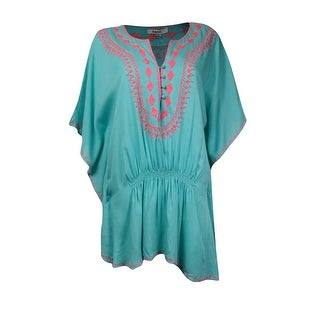 Raviya Women's Embroidered Trim Tunic Coverup