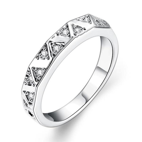 White Gold Petite Horizontal Lined Ring