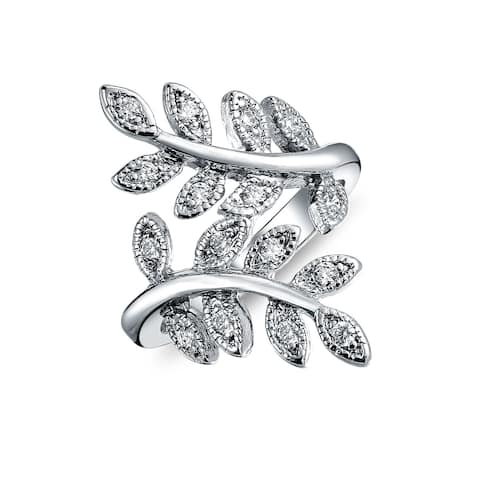 Nature Ivy Vine Leaf Fashion Statement Ring For Women Cubic Zirconia Pave CZ Bypass Silver Plated Brass