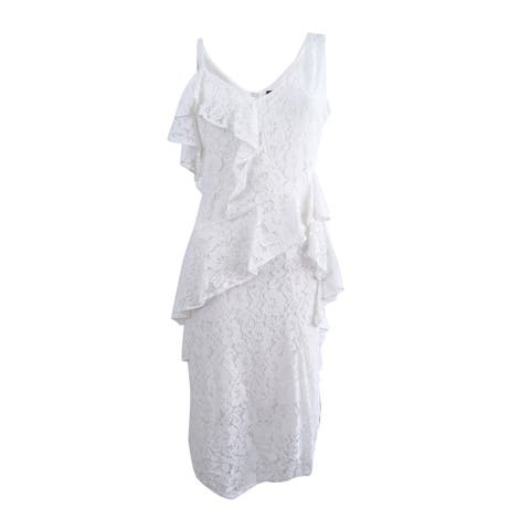Taylor Women's Ruffled Lace Midi Dress - Off White