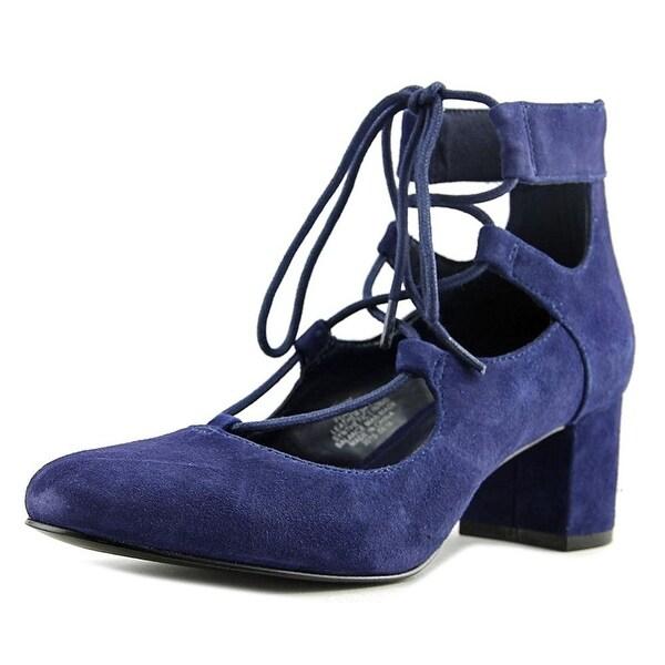 Nine West Fonsecao Women Round Toe Suede Blue Heels - 6.5