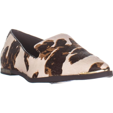 DKNY Lona Pointed Toe Flat Loafers, White Brown Cow Print - 6.5 US