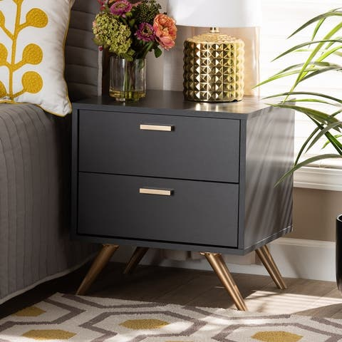 Kelson Modern Dark Grey and Gold Finished Wood 2-Drawer Nightstand