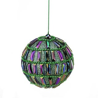 """4"""" Regal Peacock Green and Purple Glittered Mirrored Ball Christmas Ornament"""