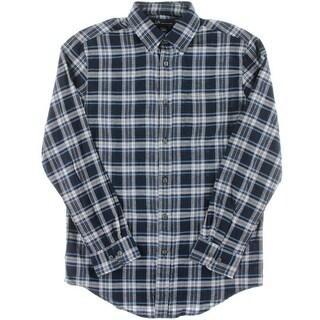 John Ashford Mens Plaid Flannel Button-Down Shirt