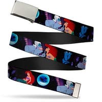 Blank Chrome  Buckle The Little Mermaid Ariel & Ursula Scenes Webbing Web Belt