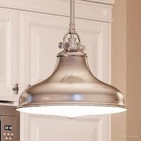 "Luxury Industrial Hanging Pendant Light, 11.5""H x 13.5""W, with Americana Style, Nostalgic Design, Brushed Nickel Finish"