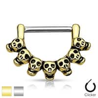 Lined Skull 316L Surgical Steel Nipple Clicker (Sold Individually)