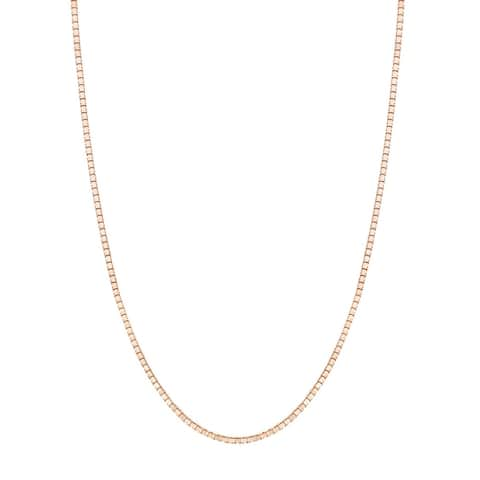"""14K Rose Gold Box Chain Necklace 0.6mm, 16-20"""""""