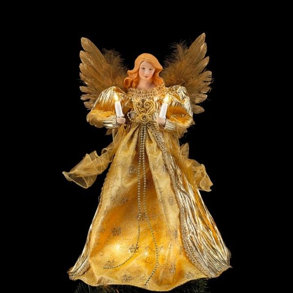 14 lighted golden angel christmas tree topper clear lights gold
