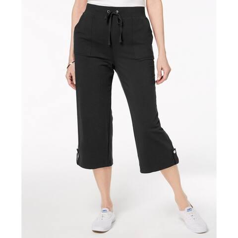 Karen Scott Women's French Terry Drawstring Capri Pants Black Size Large