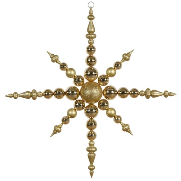 "43"" Gold Commercial Sized Shatterproof Radical Snowflake Christmas Ornament"