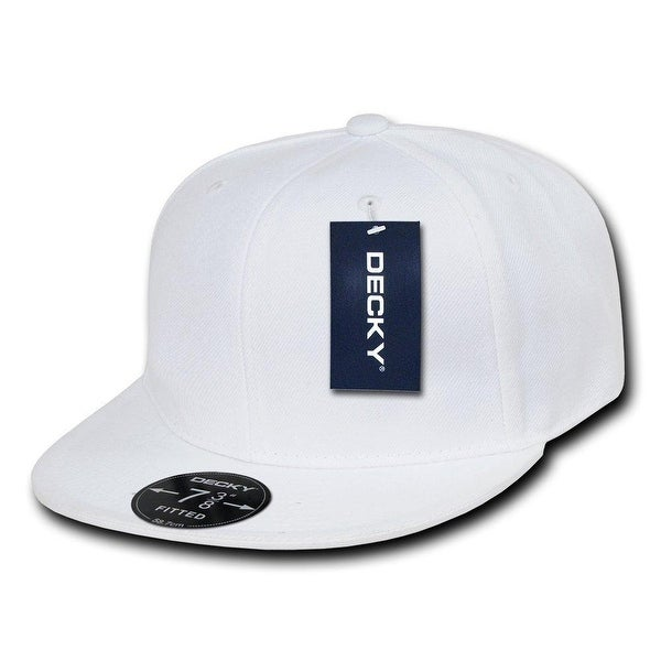 Plain Round Flat Bill Structured Baseball Cap Fitted Hat - White 7 5 8 5ceb685507de