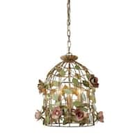Sterling Industries 123-006 3 Light Foyer Pendant with Color Crystal Insets and Purple Shade