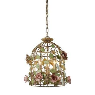 Sterling Industries 123 006 3 Light Foyer Pendant With Color Crystal Insets And Purple Shade