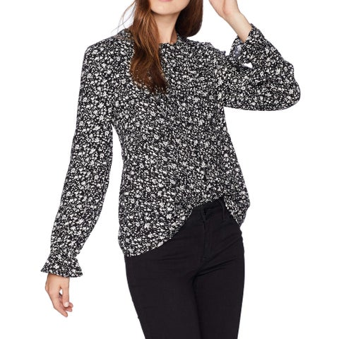 Lucky Brand Black White Women's Size Large L Parisian Ditsy Blouse
