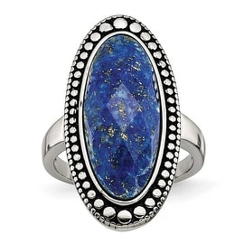 Chisel Stainless Steel Polished and Antiqued Blue Lapis Ring