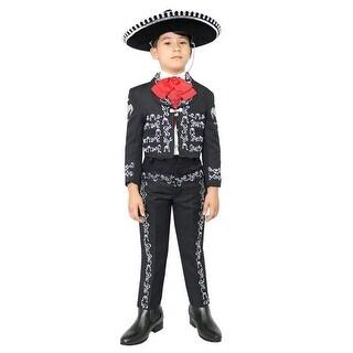 Little Boys Black Silver Embroidered Mariachi Pants Jacket Hat Set