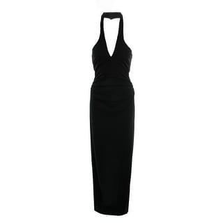 Nicole Miller Womens Evening Dress Halter Ruched