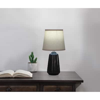 Textured Ceramic Accent Lamp with Textured Hardback Shade