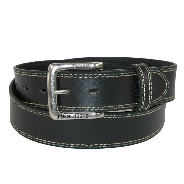 John Deere Men's Buffalo Leather 1.5 Inch Bridle Belt with Contrast Stitch