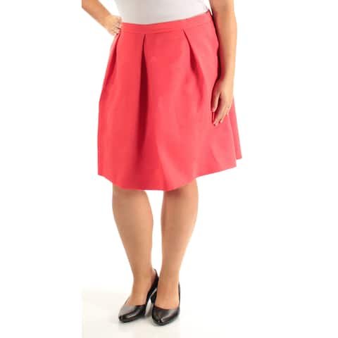 ANNE KLEIN Womens Orange Floral Knee Length Pleated Wear To Work Skirt Size: 16