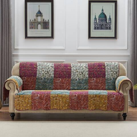 Polyester Sofa Protector with Paisley Print, Multicolor
